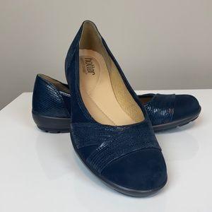 Hotter Natasha Navy Blue Leather Ballet Flats
